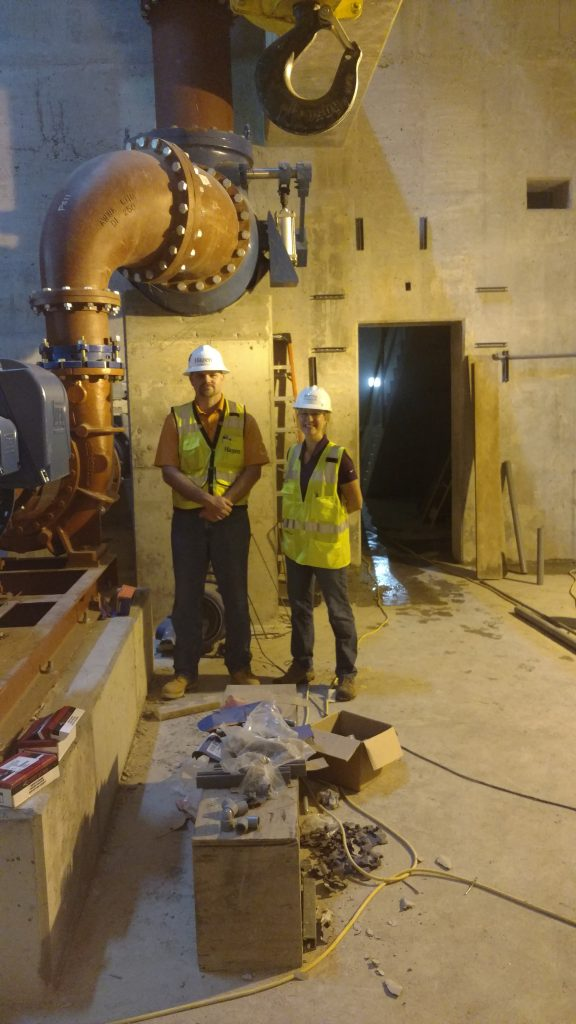 Senior Principal Engineer Benjamin Alter, Hazen & Sawyer, and Michelle Simpson, RWSA Senior Civil Engineer at floor level. (Sept 2016)