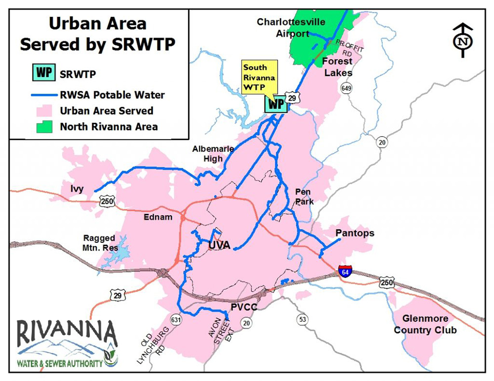 map of the South Rivanna urban water service area