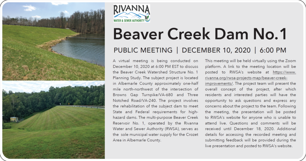 Public Meeting: Beaver Creek Dam No. 1 @ Zoom